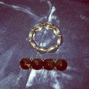Set of 2 black stone stretchy bracelets